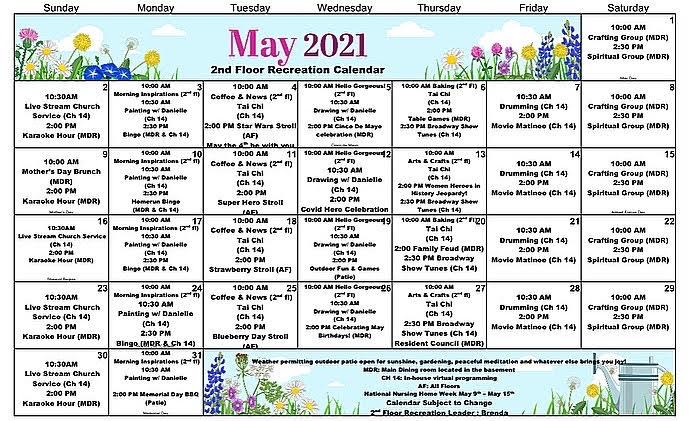 Atrium Event Calendar May 2021 - 2nd Floor
