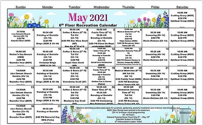 Atrium Event Calendar May 2021 - 6th Floor