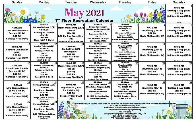 Atrium Event Calendar May 2021 - 7th Floor