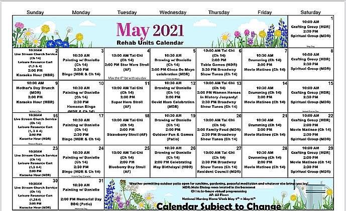 Atrium Event Calendar May 2021 - Rehab Units