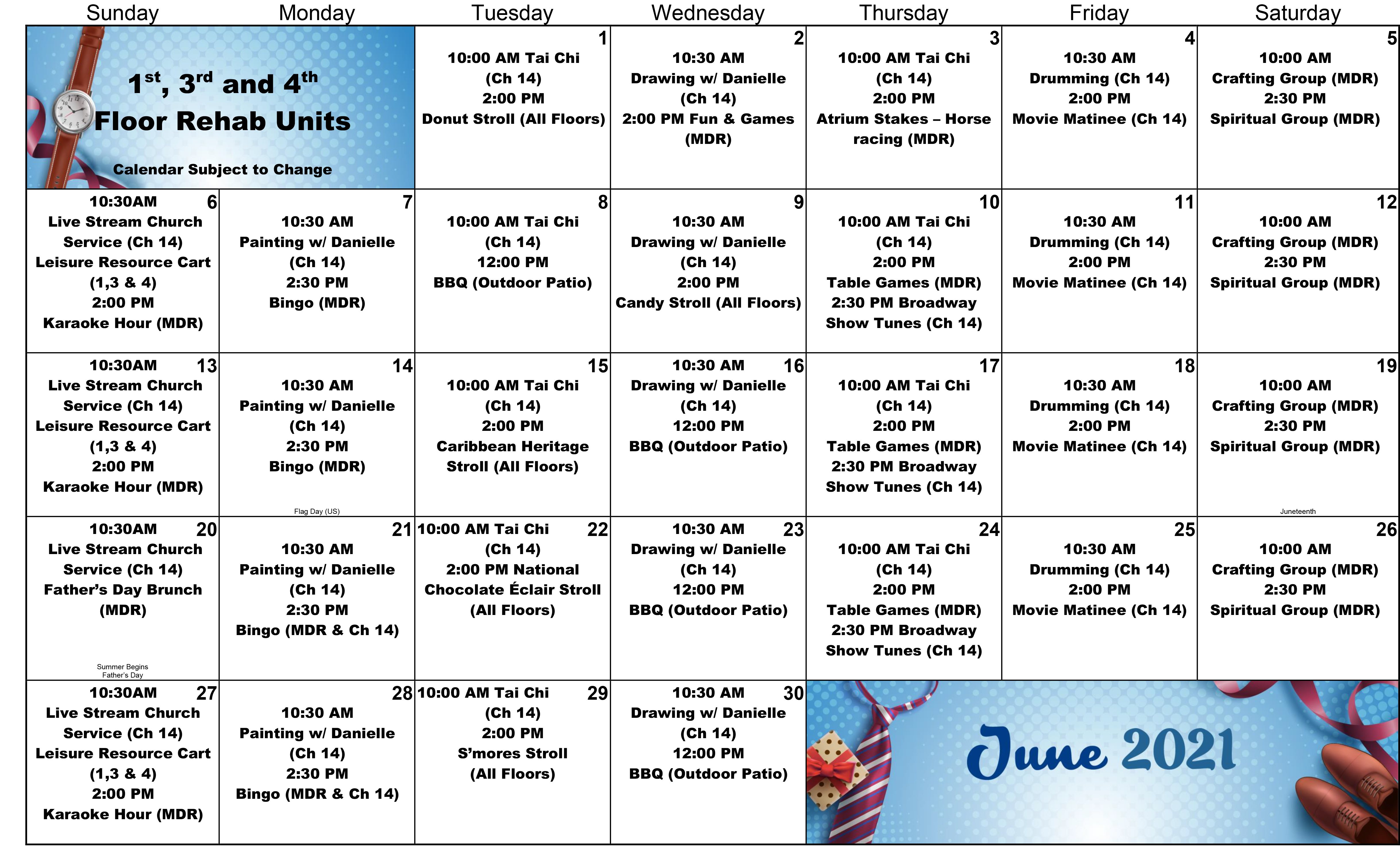 Atrium 1st 3rd 4th Floor June Event Calendar 2021