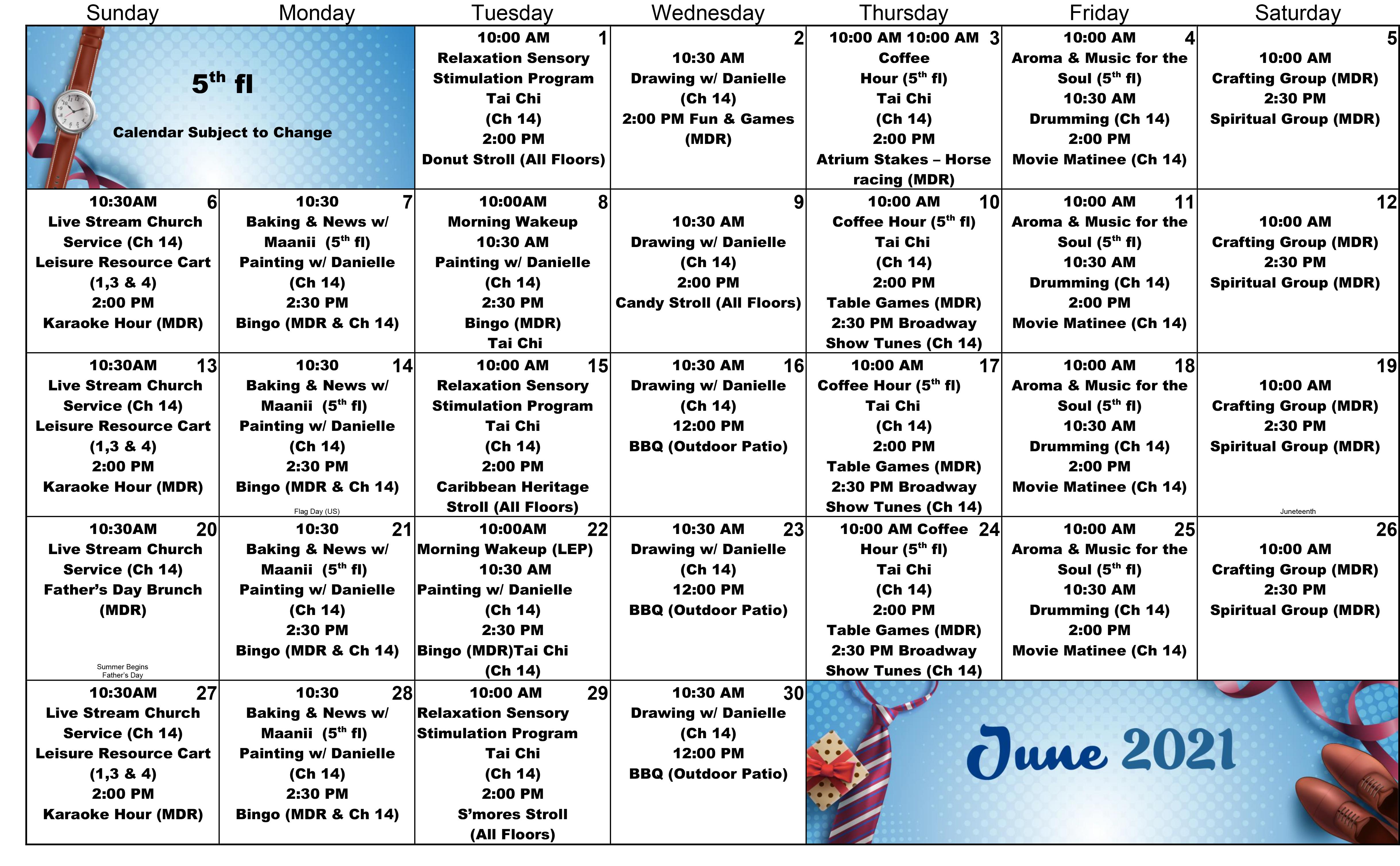 Atrium 5th Floor June Event Calendar 2021