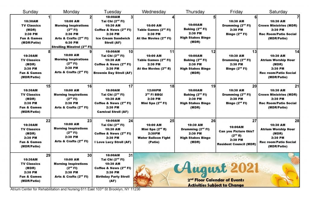 Atrium 2nd Floor August 2021 Event Calendar