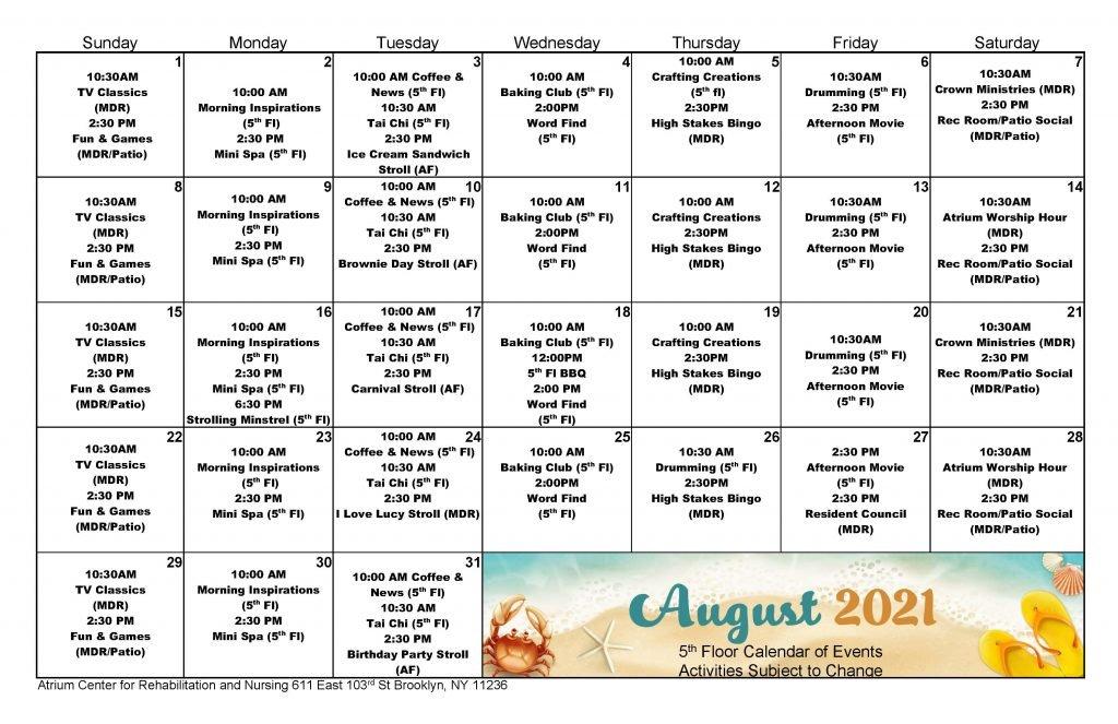 Atrium 5th Floor August 2021 Event Calendar