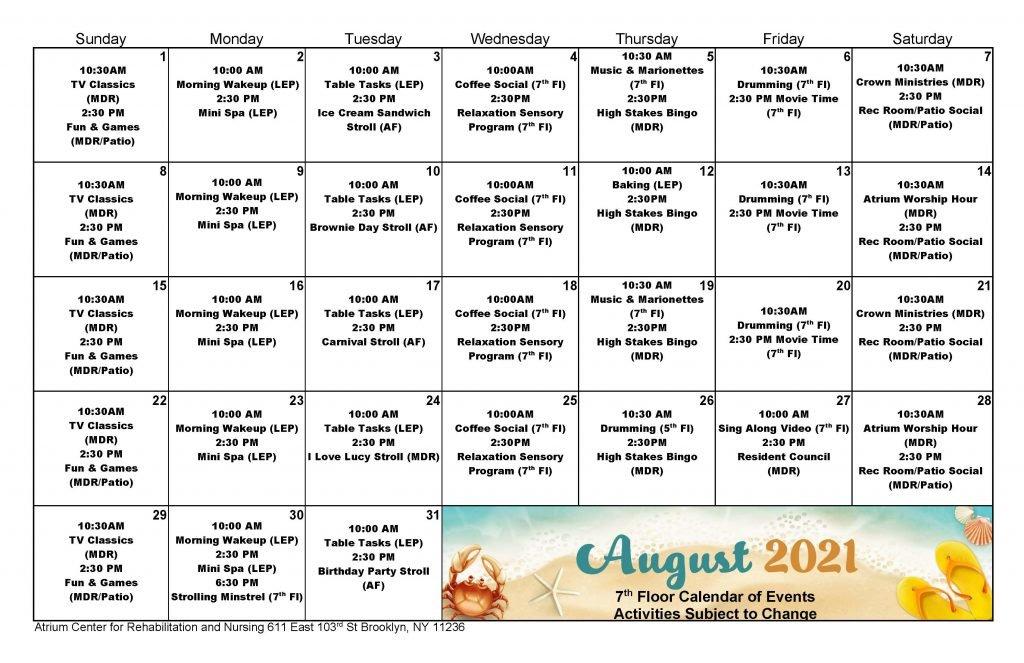 Atrium 7th Floor August 2021 Event Calendar