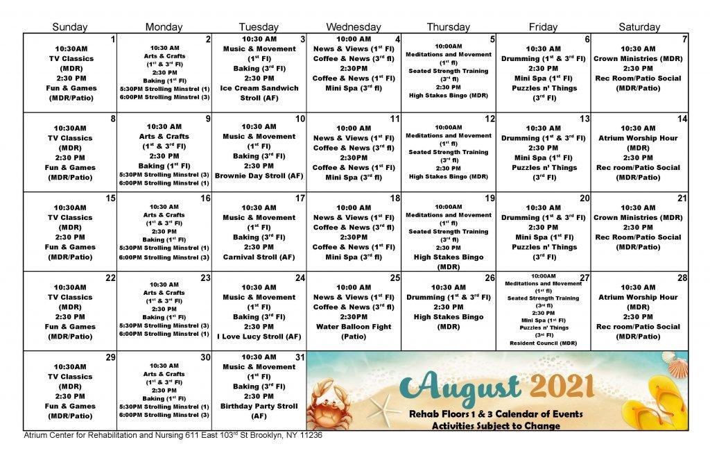 Atrium Rehab Floor August Event Calendar 2021