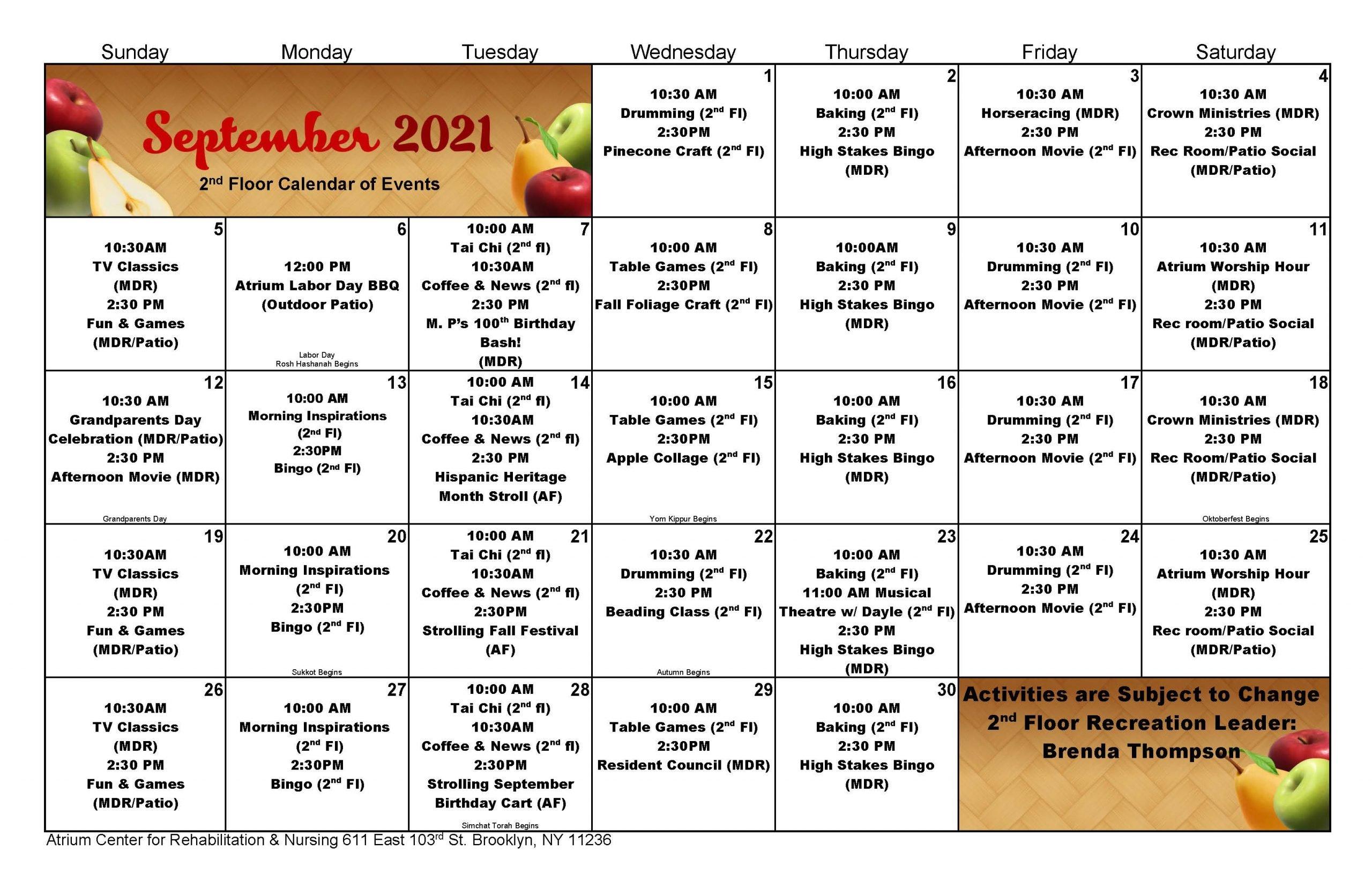 Atrium Rehab Floor September Event Calendar 2021