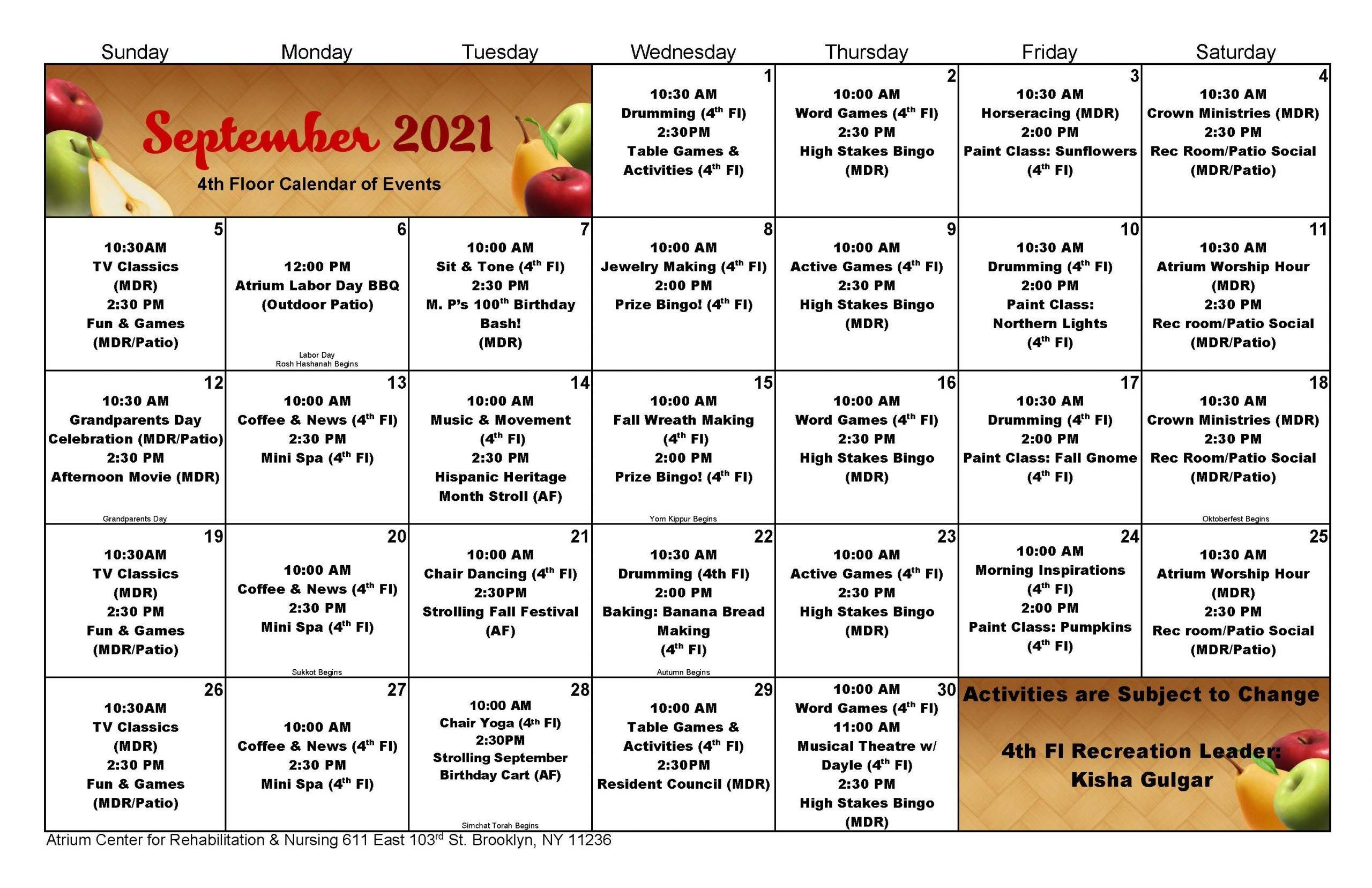 Atrium 4th Floor September 2021 Event Calendar