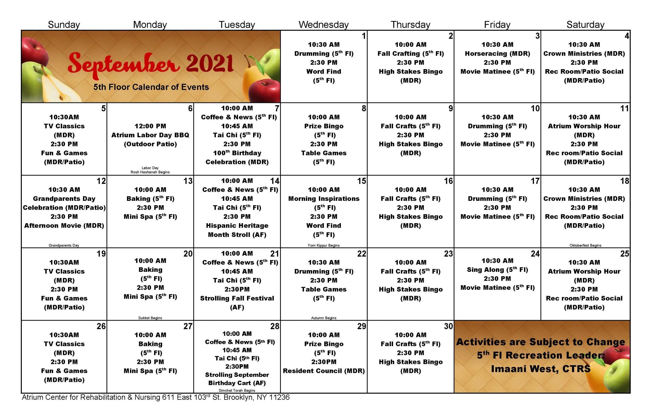 Atrium 5th Floor September 2021 Event Calendar