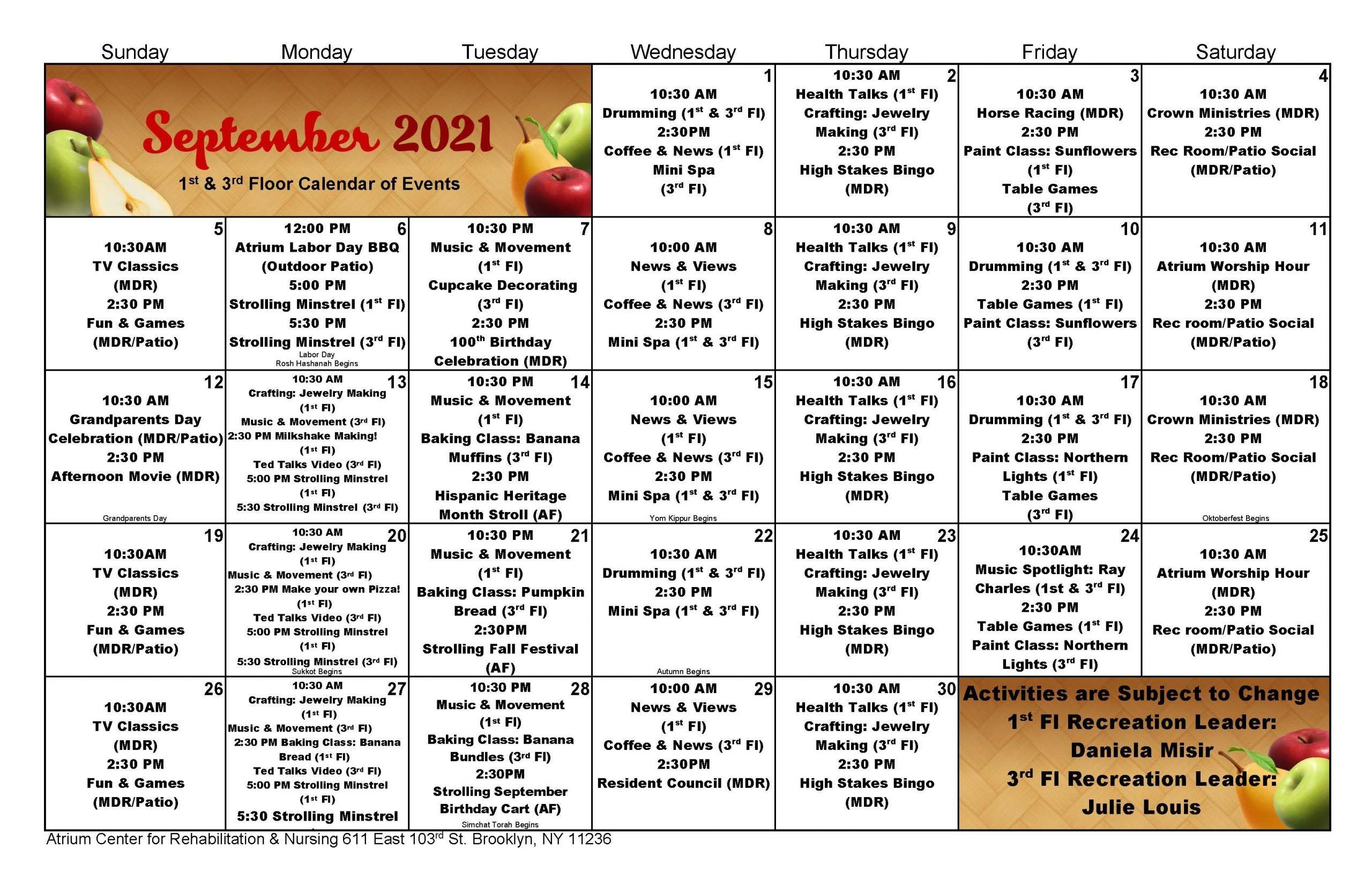 Atrium Rehab Floor September 2021 Event Calendar