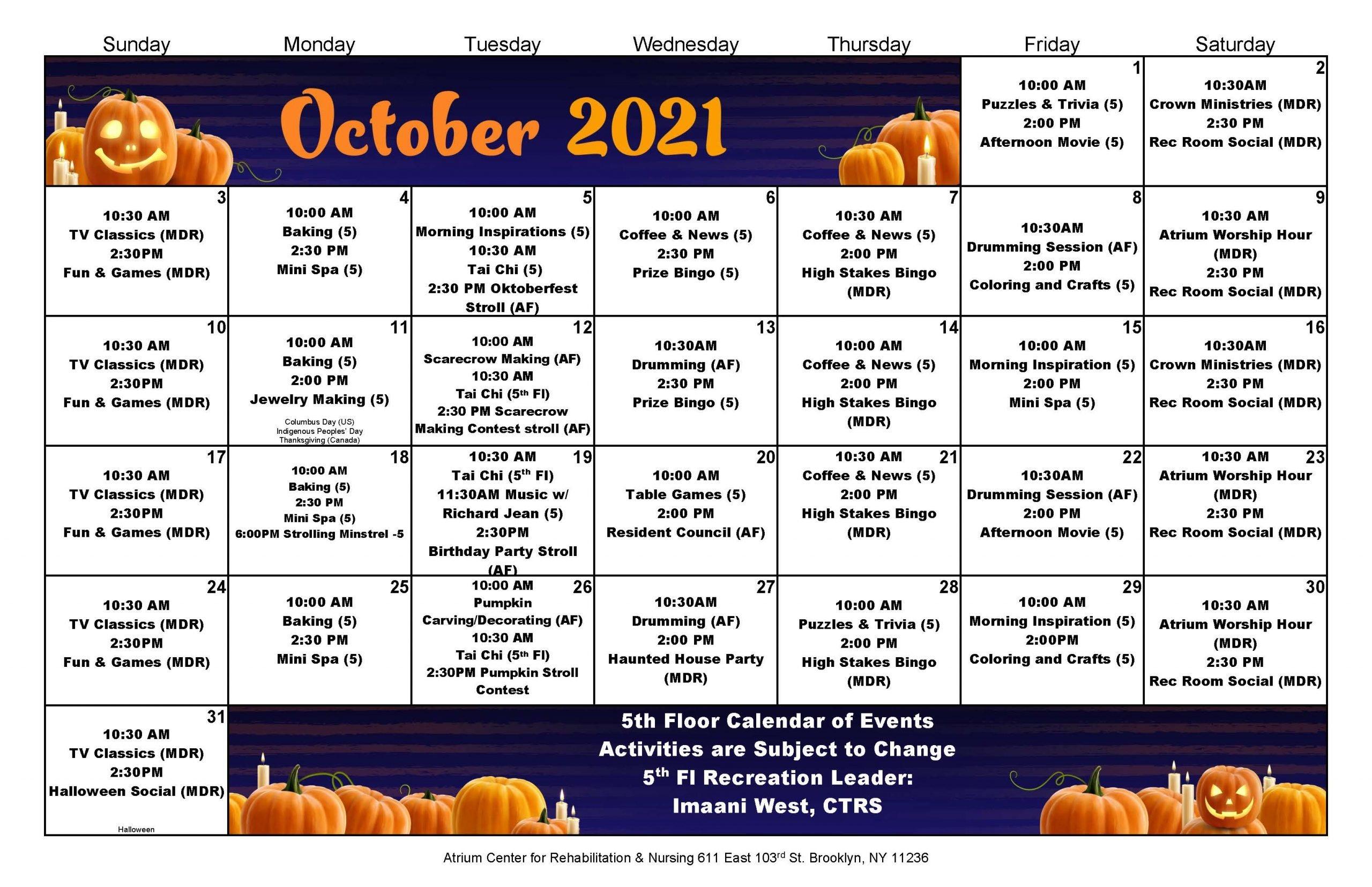 Atrium Center October 2021 Calendar - 5th Floor