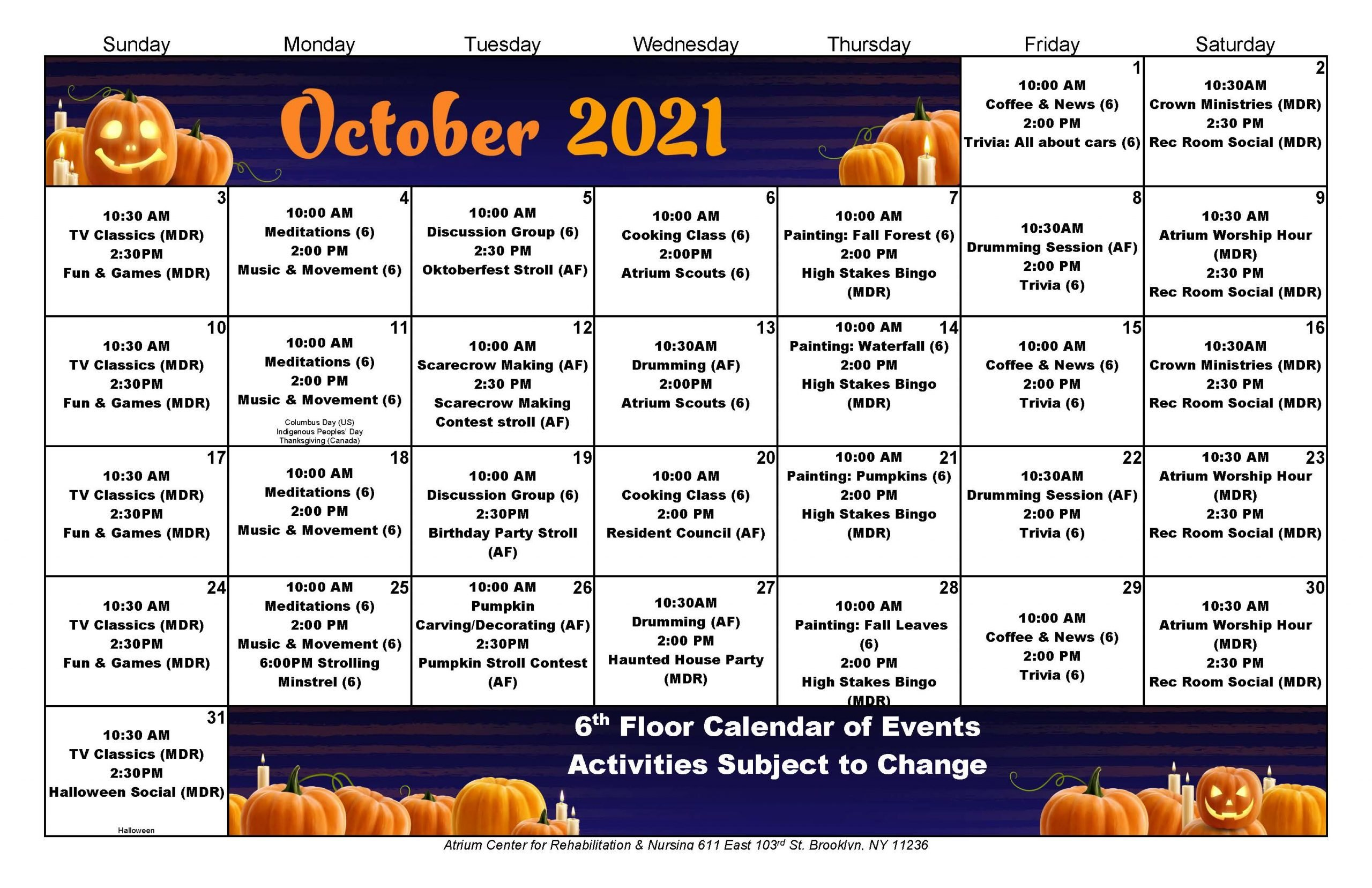 Atrium Center October 2021 Calendar - 6th Floor