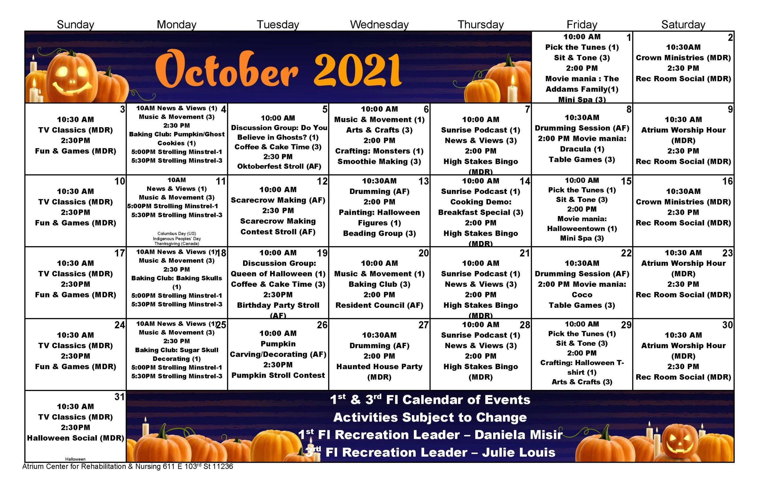 Atrium Center October 2021 Calendar - Rehab